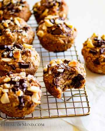 Chocolate-Walnut Banana Muffins on wire rack side view