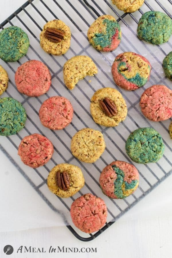Pecan Almond Flour Red White and Blue Cookies on cooking rack from overhead