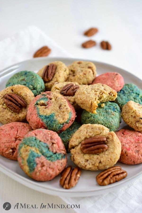 Pecan Almond Flour Red White and Blue Cookies from side on gray plate
