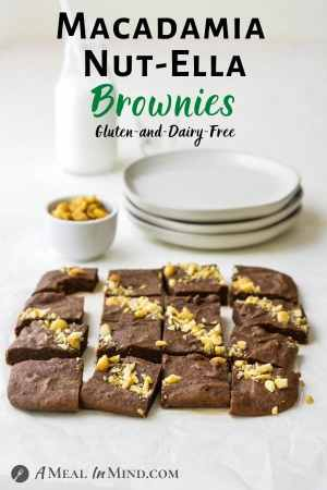 "Macadamia Nut""Ella"" Brownies 3 Ingredient pinterest image of brownies on table"