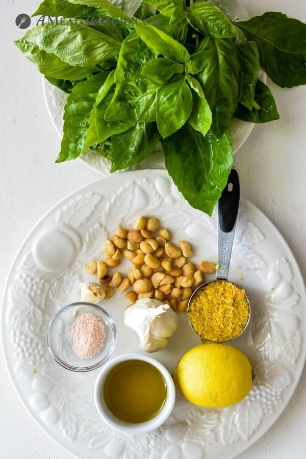 ingredients for fresh pesto with garden basil
