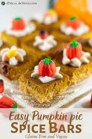 Pumpkin Pie Spice Bars Gluten-Free, with mini-pumpkins