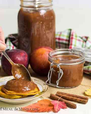 Apple Pluot Butter in glass jars