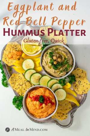 Eggplant and Red Bell Pepper Hummus Platter pinterest image