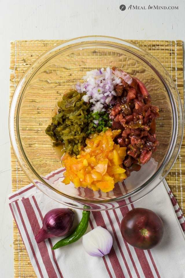 Hatch Green Chile Heirloom Tomato Salsa in mixing bowl