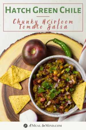 Hatch Green Chile Heirloom Tomato Salsa pinterest image