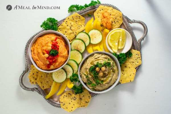 Eggplant and Red Bell Pepper Hummus Platter