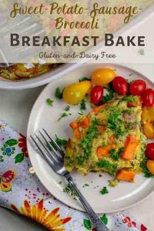 Sweet Potato Sausage Broccoli Breakfast Bake on ivory plate