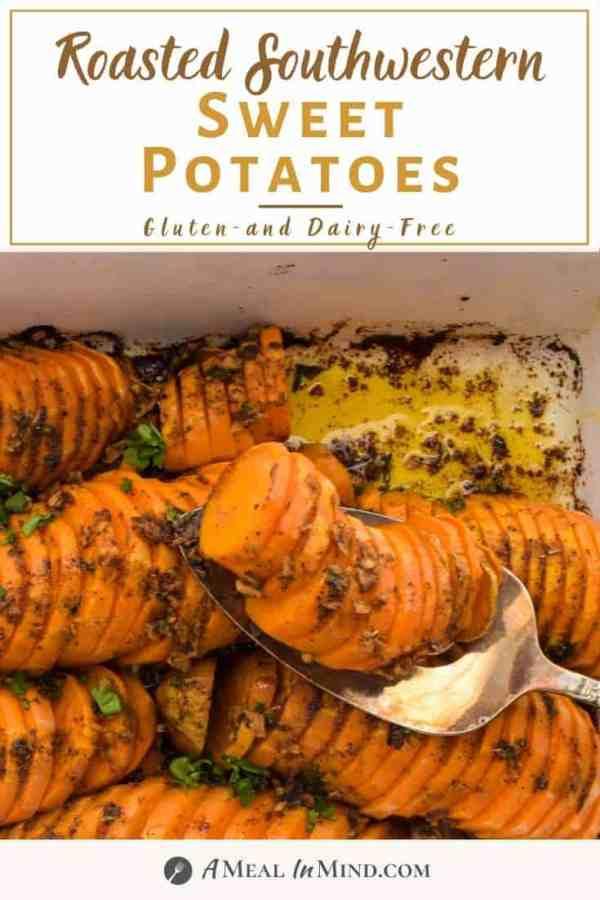pinterest image of southwestern roasted sweet potatoes