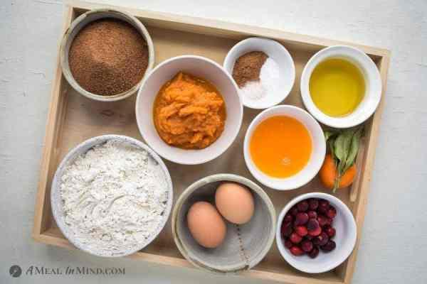 Ingredients for cranberry pumpkin bread