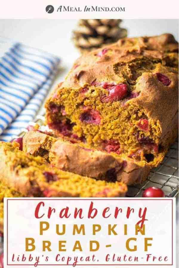 pinterest image of cranberry pumpkin bread on wire rack