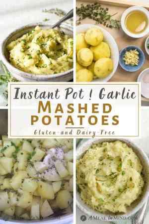 4 image pinterest image of garlic mashed potatoes