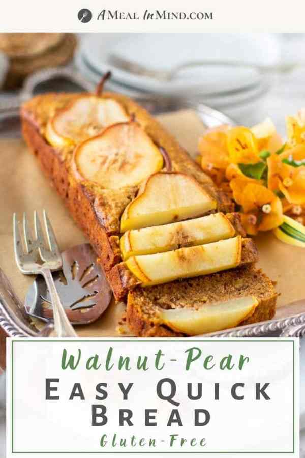 walnut ginger pear bread sliced on silver tray