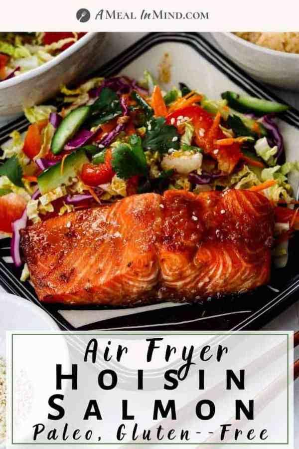 pinterest image of air fryer hoisin salmon