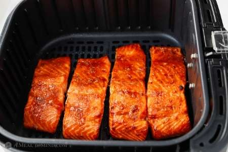 air fryer hoisin salmon finished in air fryer