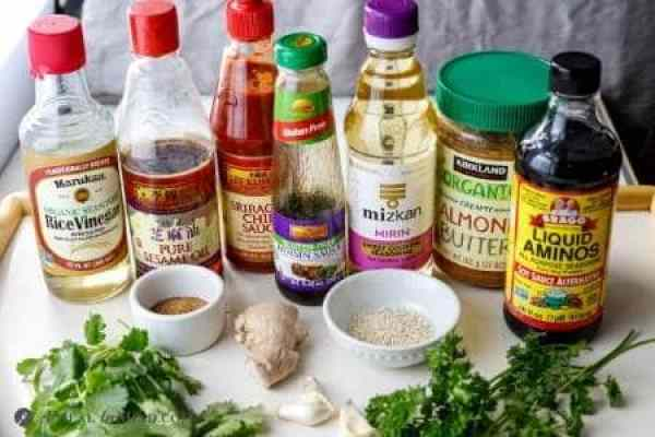 ingredients for asian slaw dressing and hoisin salmon