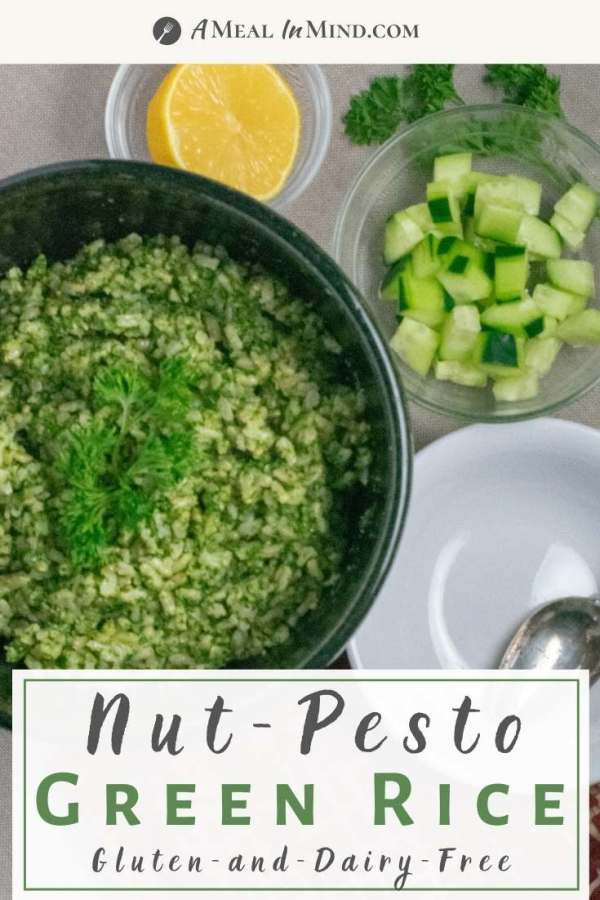 pinterest image of nut pesto green rice in ceramic bowl