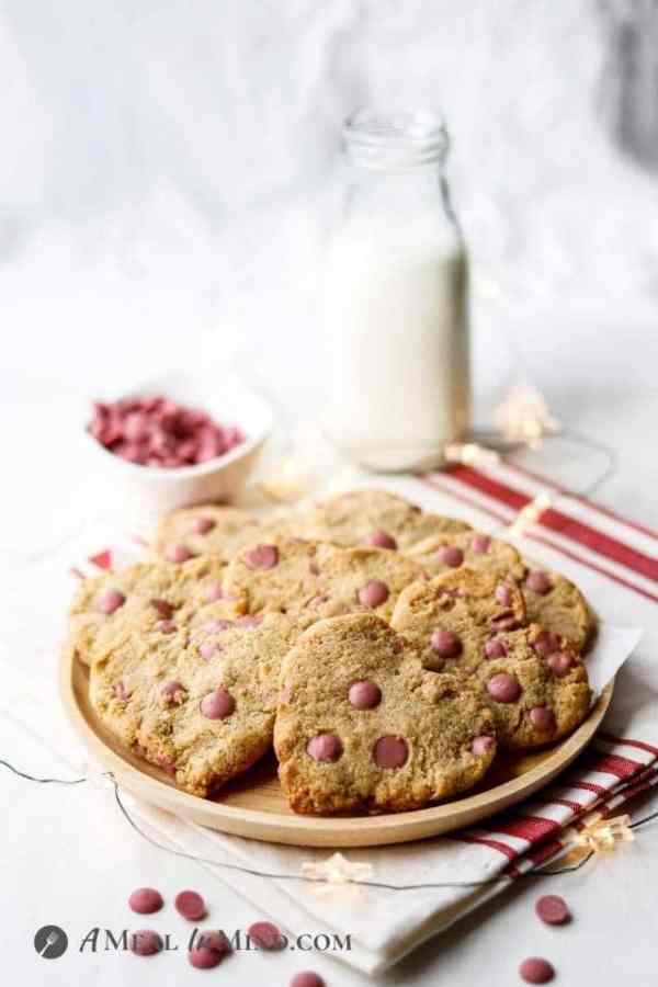 ruby chocolate valentine cookies on wood plate