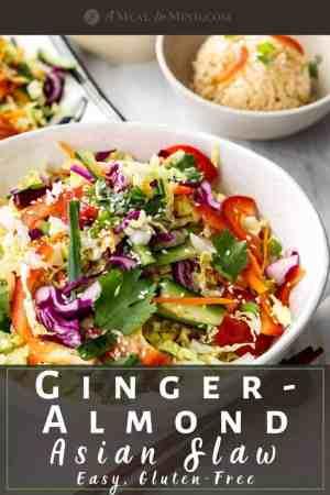 pinterest image of ginger almond asian slaw