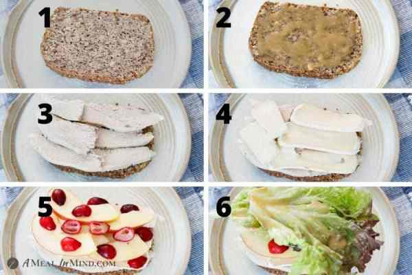 collage of images making the chicken-apple-brie sandwich