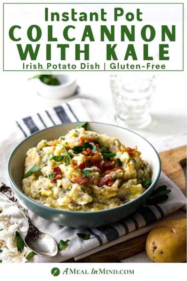 pin image of instant pot colcannon in bowl