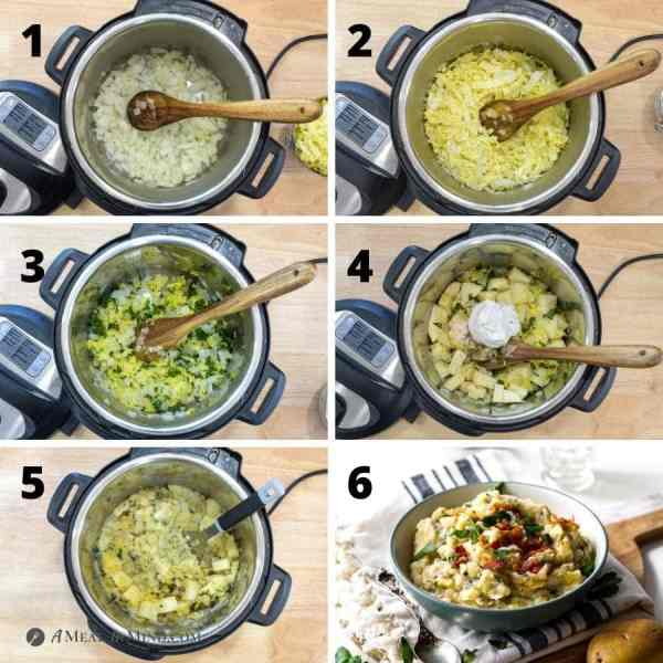6 image collage of steps in preparing colcannon in the instant pot