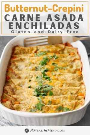 pinterest image of pan of carne asada enchiladas