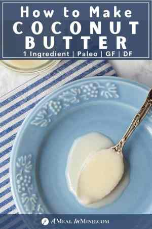 coconut butter in spoon on blue plate