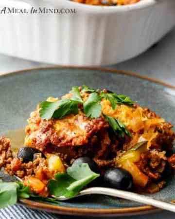 beef-spaghetti squash casserole on gray plate