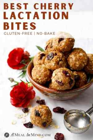 pinterest image of cherry almond-oat bites