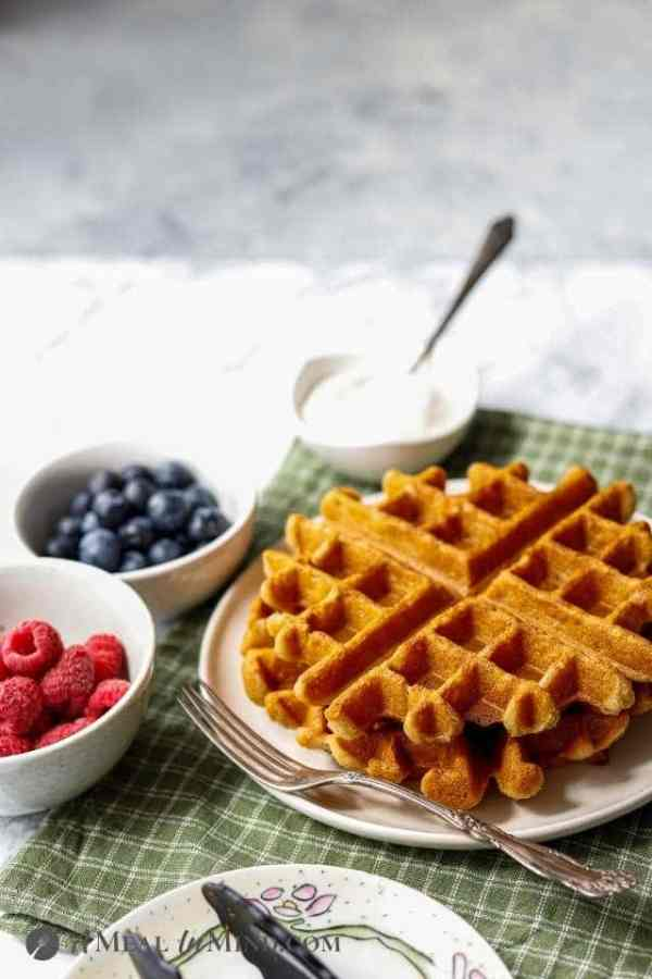 cassava flour waffles and toppings