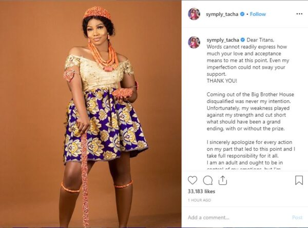 BBNaija: Tacha Speaks After Her Disqualification, Apologizes To Fans, Supporters