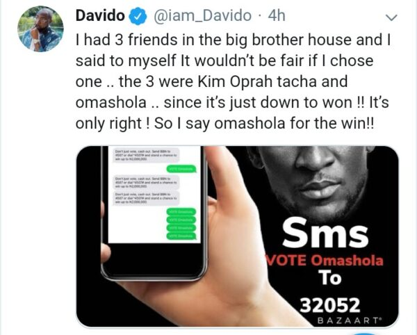Check Out The Housemate Davido Wants To Win BBNaija