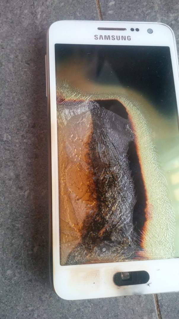 Lady Reveals How Her Son Escaped Being Burnt Alive Following The Explosion of Her Husband's Samsung Phone