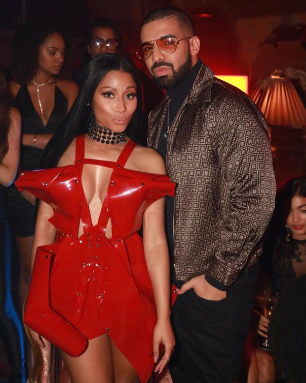 Nicki Minaj Rocks Sexy Cleavage Baring Dress For No Frauds Video While Getting Cozy With Drake 1