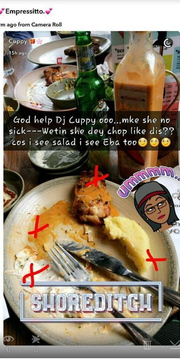 DJ Cuppy Eating That Combination Of EBA AND SALAD 3