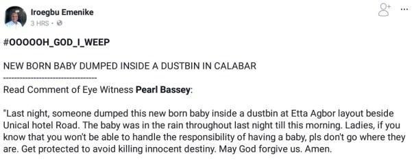 New Born Baby Dumped Inside A Dustbin In Calabar 1