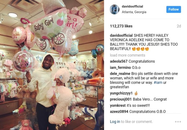 Davido Announces He Has Welcomed Newborn Daughter Hailey Veronica Adeleke