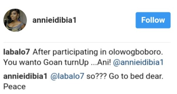 Annie Idibia Had This Epic Response To Follower Who Bothered Her For Turning Up For A Party After Hallelujah Challenge (1)
