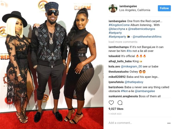 D'banj Pictured With Blac Chyna And Model Bernice Burgos (1)