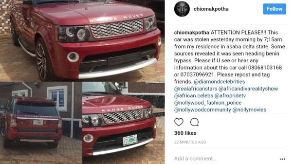 Chioma Akpotha Raises Alarm After Range Rover Was Stolen From Her Residence In Asaba (2)