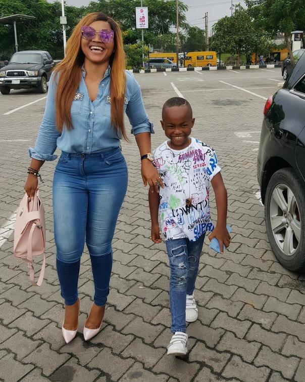 Mercy Aigbe And Son Step Out Looking Stylish (1)