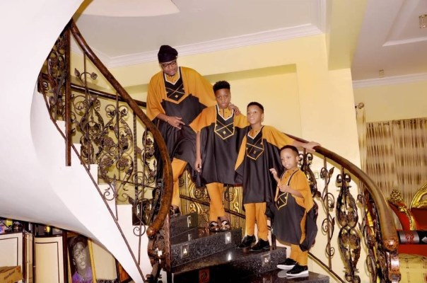 E-Money And His Three Sons Rock Matching Outfits (1)
