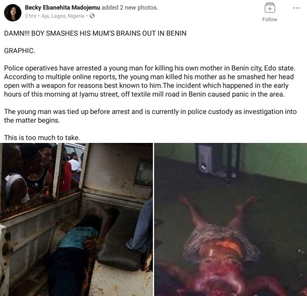 Young Man Killed His Mother After Smashing Her Head With Pepsi Bottle In Benin City (1)