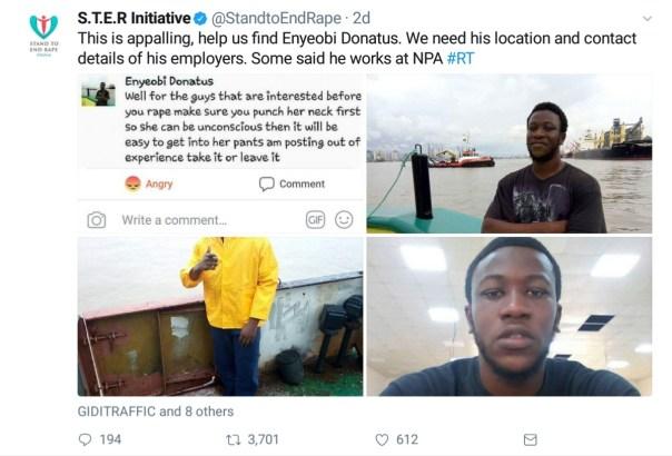 Nigerian Man Enyeobi Donatus On The Run After His Facebook Post Encouraging Rape (3)