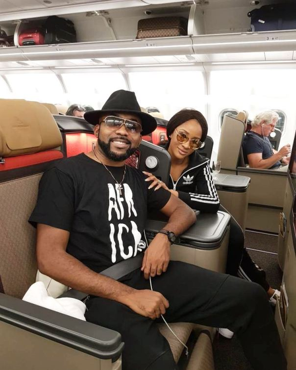 Banky W And Adesua Etomi Pictured On Plane To Cape Town In Preparation For White Wedding (2)