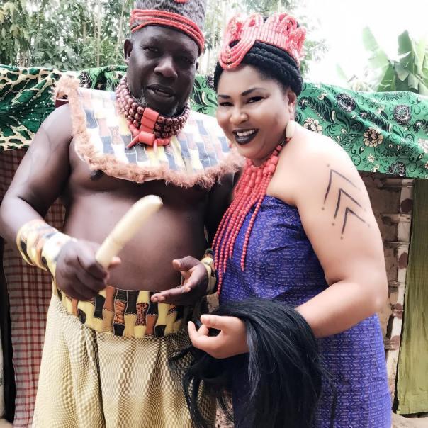 Rosy Meurer Pictured Alongside Walter Anga With Ejike Asiegbu And Rita Daniels On Set Twisted The Movie (3)