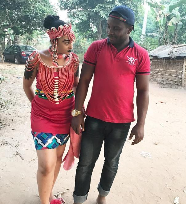 Rosy Meurer Pictured Alongside Walter Anga With Ejike Asiegbu And Rita Daniels On Set Twisted The Movie