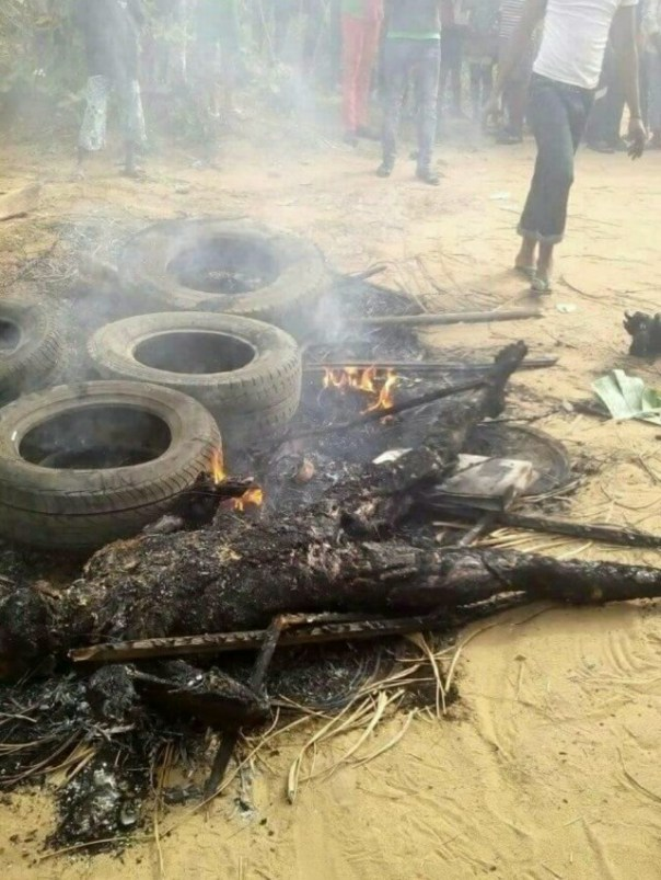Suspected Armed Robbers That Were Burnt To Ashes In Akwa Ibom (4)
