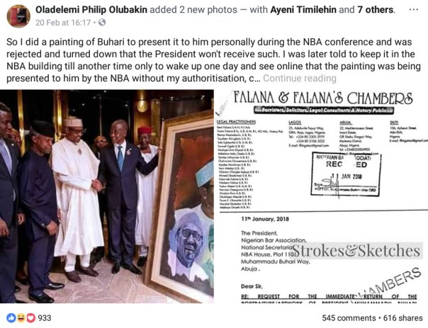 Man Drags The Nigerian Bar Association To Court For Presenting His Artwork To Buhari Without His Authorization After They Had Initially Said The President Won't Receive Such (3)